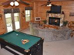 Large game room on the bottom floor + access to the hot tub.