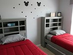 Mickey Themed Bedroom (Upstairs) - 2 Twins & 1 Trundle