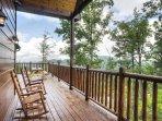 Rock your cares away on the spacious wraparound deck.