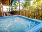 Look forward to soaking in the private hot tub.