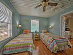Kids will like the 2 twin beds in the second bedroom.