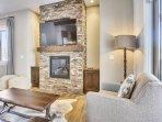 Custom stone fireplace.