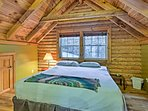 Perfect for couples, the loft features a plush king bed and exposed beam ceilings.