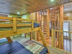 Complete with 2 twin-over-full bunk beds, the lower-level is the perfect sanctuary for the kids.