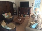 Living Room with TV, internet, DVD player