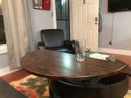 Coffee Table lifts up for additional eating seating.