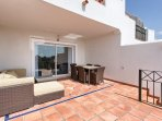 large family terrace with outdoor dining area