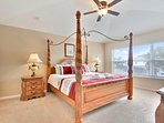 Master bedroom with en suite, pillowtop king bed, 40' LED TV & DVD, ceiling fan