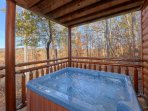 Hot tub located in the lower level deck
