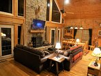 Beautiful stacked stone fireplace in the living room