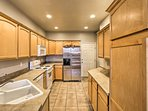 The fully equipped kitchen offers enough counterspace for sous chefs to prepare tasty side dishes.