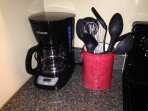 Coffee maker and cooking utensils
