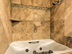 Take relaxing bubble baths in the soaker tub.