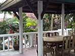 Outside private terrace with Thai style dining pavilion