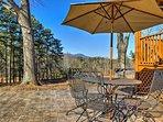 Enjoy mountain views while dining outside.