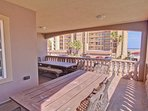 2nd floor balcony-outdoor luxury dining w/ direct beach view-accessible from the kitchen/dining area