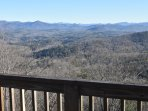The BlueRidge Mountains from the observation deck in winter