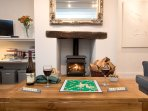 Wood burner for cosy evenings by the fire.