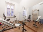 small gym equipped to relax and keep fit