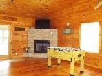Fooseball table, fireplace
