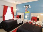 Whimsical 'Mickey' Twin Bedroom w/Two Twin Beds & Flat Screen TV