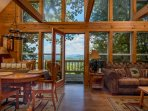 Floor to ceiling windows to maximize the incredible views from the living room in the main cabin