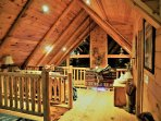 Beautiful custom lighting in this beautiful log Cabin