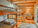 Three bedrooms feature both twin and full-sized beds.