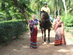 horse riding and quad bikes available at our plantation.  The village seamstress can make you a sari