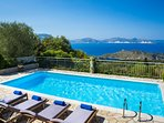 Large Pool and pool area facing West with stunning views towards Assos