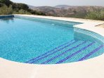 The gorgeous 8m x 4m pool, overlooking the olive grove, and with views over the countryside
