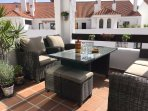 Beautifully furnished terrace is perfect for a relaxing drink or a full sit down meal.