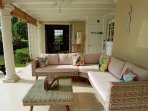 Comfortable seating on covered terrace
