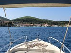 Fiskardo seen from a locally hired boat. Very reasonable prices. Can even visit Ithaca by boat.