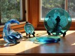 Our beautiful blue glass collections.