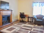 TV & Internet with electric fireplace. Air conditioner