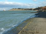 Looking toward Fort Albert and Brambles Chine from the slipway at Colwell