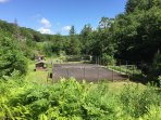 View from front porch - tennis court and Dam