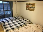 Japanese room with Japanese futons for 3 persons