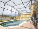 Private Patio w/Splash Pool, Safety Fence, Patio Seating w/Sun Loungers & Lake View