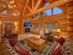 Cozy up by the fire and enjoy the stunning mountain views.