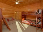 The Bunk room has twin size bunk beds, full size bunk beds, and a twin sleeper.