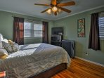 Slip into this queen bed to catch up on the news using the flat-screen cable TV.