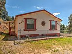 This Ruidoso home is situated on a hillside, offering spectacular views of the surrounding mountains.