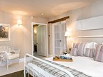 Bedroom with ensuite. Egyptian cotton towels and bathrobes provided.