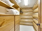 Large walk in closets with built in dressers