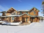Front exterior of this custom log home