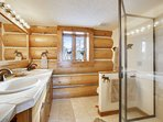 Master bathroom with huge shower and double sinks