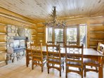 Large dining area with gas fireplace and amazing views