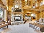Beautiful 2 story stone fireplace with gas heat